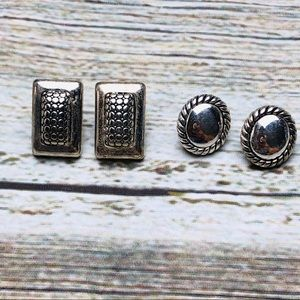 Two Pairs Silver Earrings Post